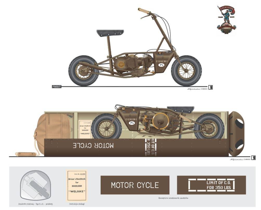 Армейски скутер Welbike - контейнер