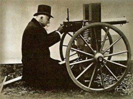 Картечница Максим с лафета с големите колела